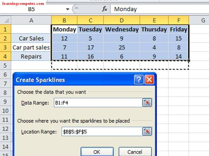 Excel 2010 - Sparklines example Window15