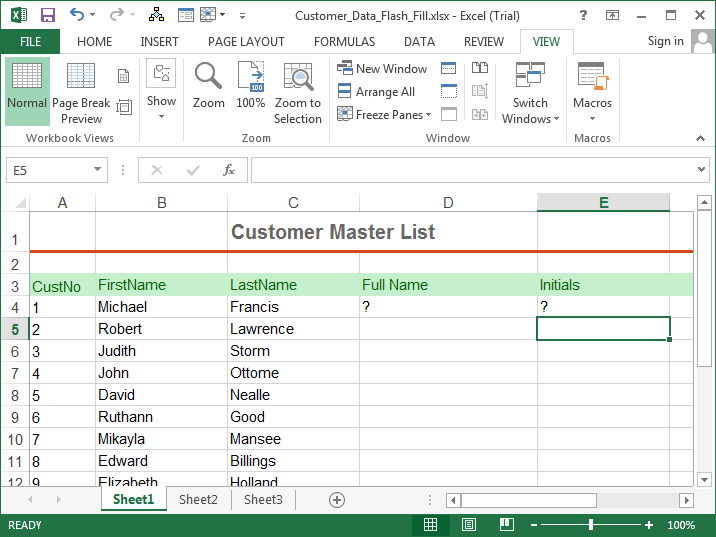 Excel 2013 Tutorial Flash Fill5