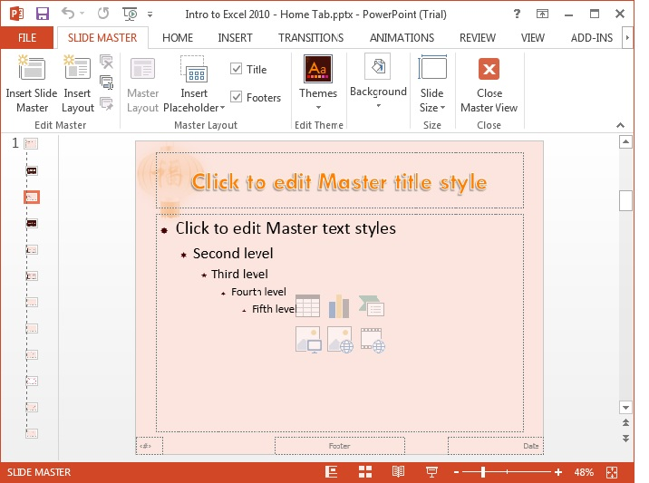 MS Powerpoint 2013 Slide Master