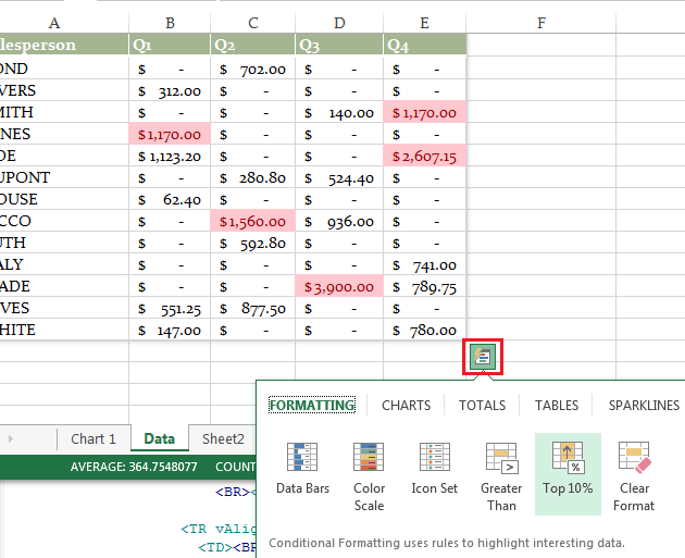 Free Excel 2013 download - Quick Analysis Toolbar