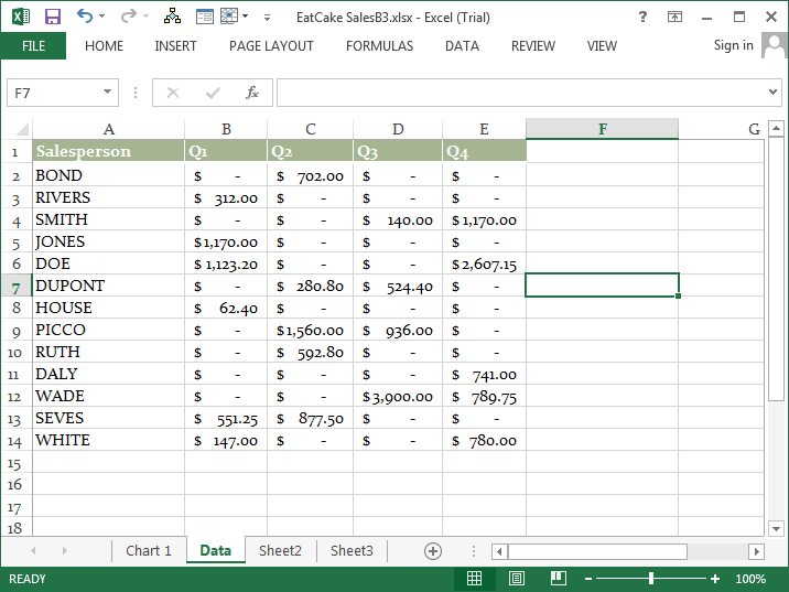 Microsoft Excel 2013 Tutorial Sales By Quarter3