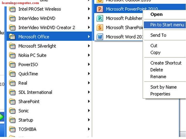 PowerPoint 2010 Pin to start menu3