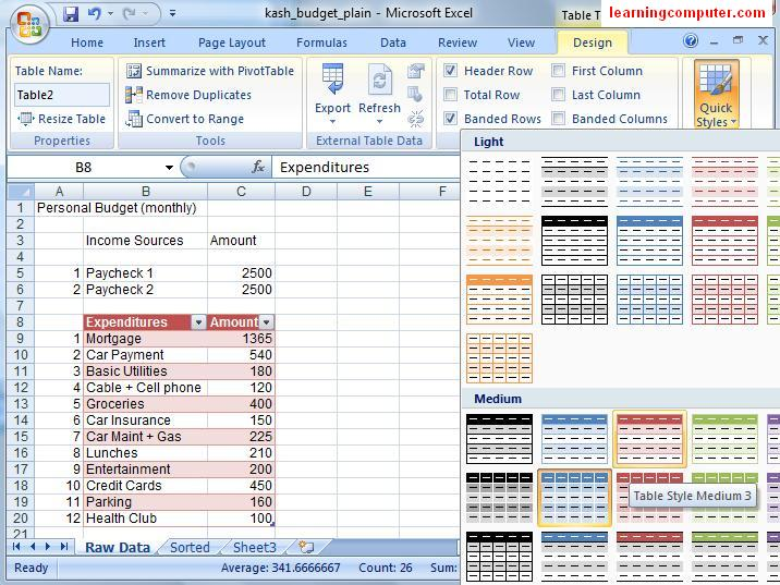 Design Tab in Excel