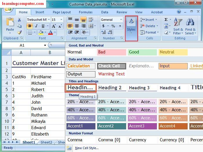 excel themes