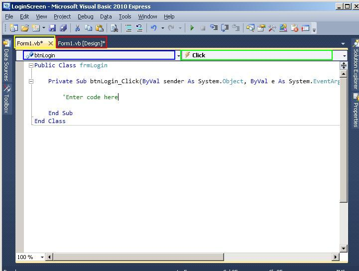 how to add visual basic 2010 code
