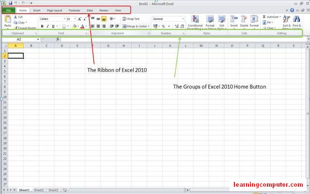 ms office 2010 Excel - Ribbon and Home tab8