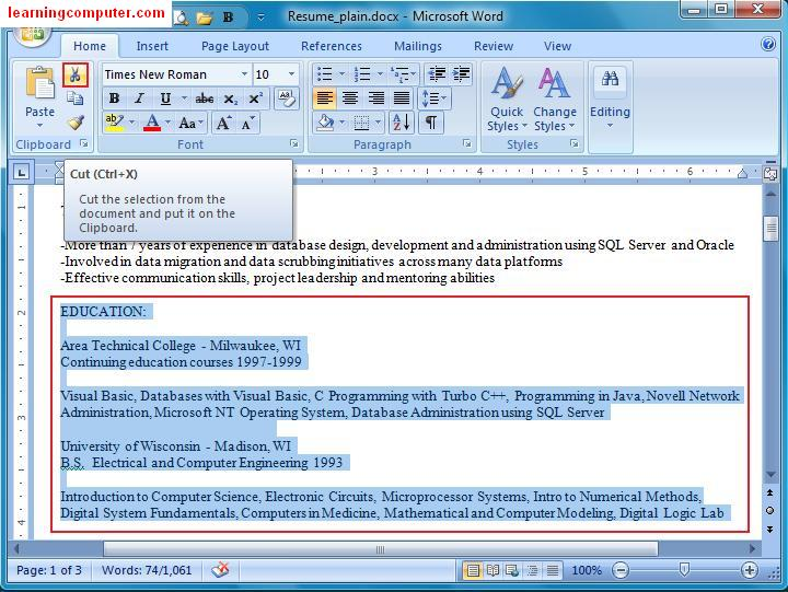 The Cut Command In MS Word  How To Do A Resume On Microsoft Word 2007
