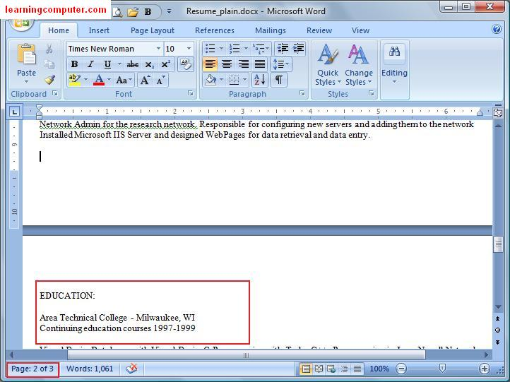Inserting in Word 2007