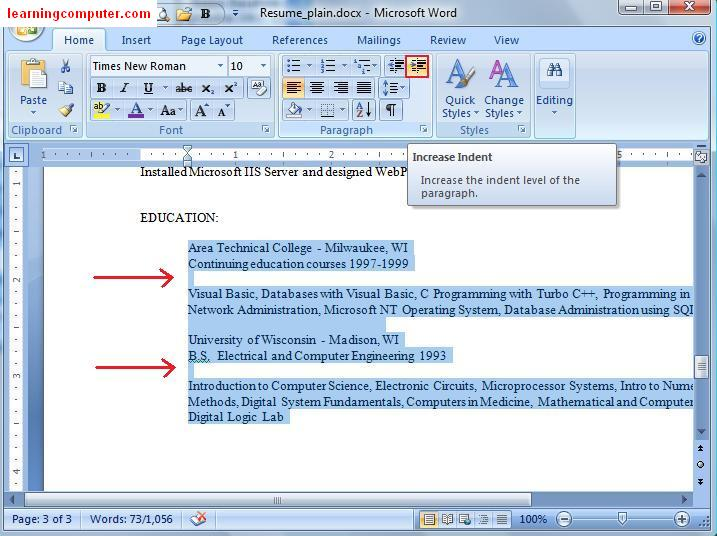 Add indentation Microsoft 2007