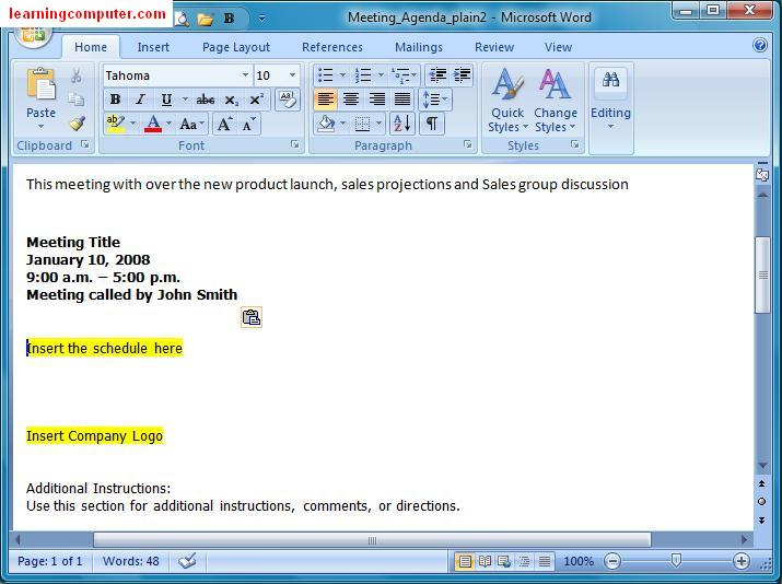 Inserting in Word MS