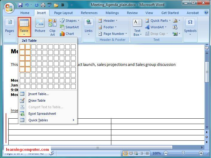 how to set tabs in a table in word