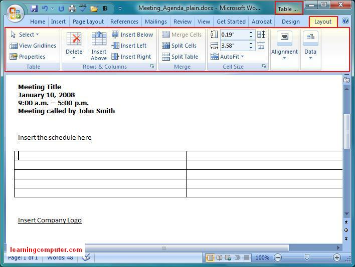Layout Tab in Word MS