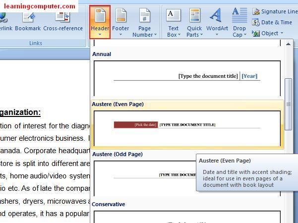 Insert Header using Word