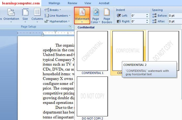 Word Page Layout Tab3