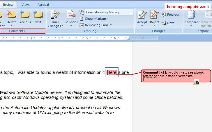 Comments feature in MS word 2007