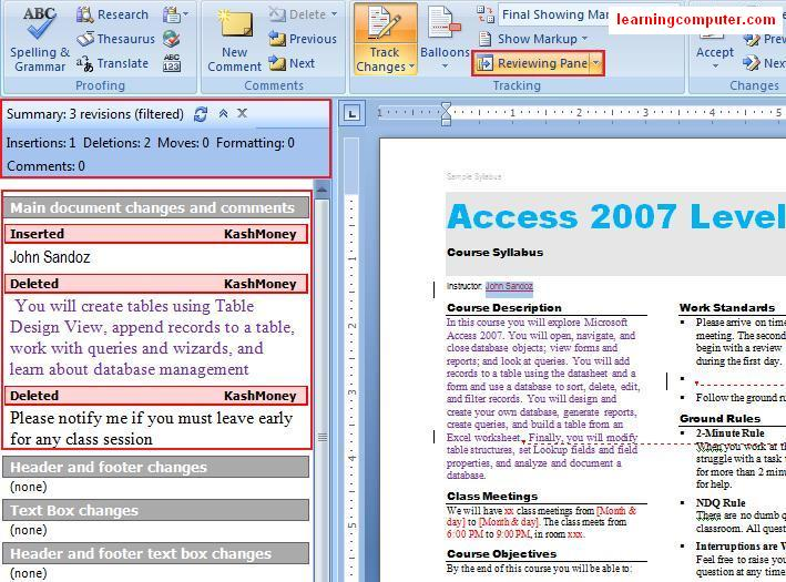 Review pane command Word 2007