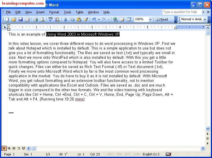 Using Word 2003 in Microsoft Windows