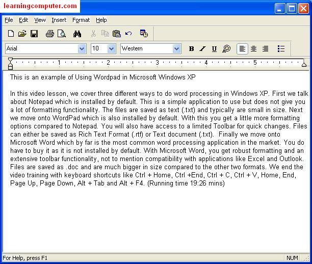 Windows XP SP2 Wordpad