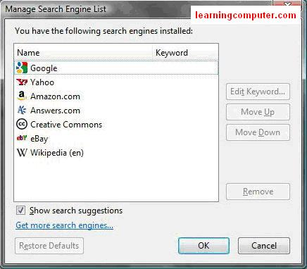 How to manage search engine list firefox