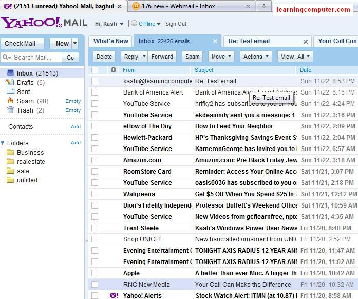 Check New Email messages in Yahoo Mail