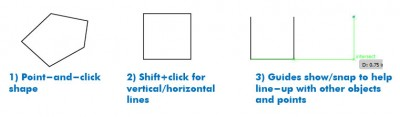 "Adobe Illustrator - Three shapes shown. First is irregular pentagon shape, text underneath reads, "" 1) Point-and-click shape."" Second shape is a square with text reading, ""2) Shift+click for vertical/horizontal lines."" Third shape is an open box with the top line missing. A green line goes along the bottom further away to the right stopping at an 'X' and goes up vertically lining up with the top of the box. Next to the 'X' green text reads, "" intersect."" Under the shape is text, "" 3) Guides show/snap to help line-up with other objects and points"