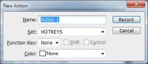 Adobe Photoshop New Actions dialog box. Fields for 'name', 'set', 'function key' and 'color'. 'Record' and 'Cancel' buttons are on the right side.