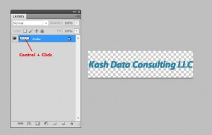 """A 'Layers' panel is on the left-half of the screen. A 'layer' field is highlighted with a message to 'Control + Click' on the layer preview box. On the right half of the screen, the workspace has a logo which reads, """"Kash Data Consulting LLC"""""""