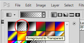 Adobe Photoshop Gradient options menu. Gradient type shows with 'Foreground to Transparent' selected. Option shows a square going from black and fading to transparent.