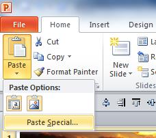 Microsoft PowerPoint Home Tab ribbon. Paste options are selected and 'Paste Special...' is highlighted.