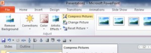 Microsoft PowerPoint 'Compress Pictures' Button is shown in the Ribbon
