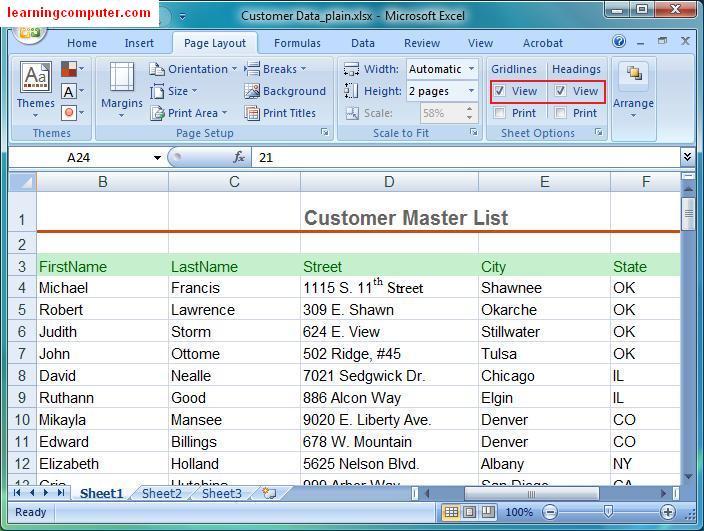 microsoft excel tutorial  u2013 page layout tab