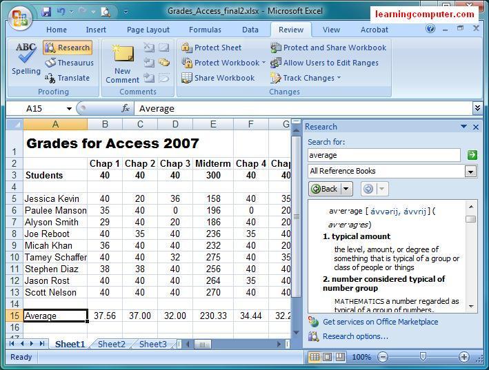 Microsoft Tutorial Excel Review Tab