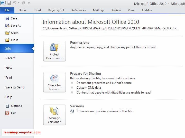 Word File Tab Word 2010 Microsoft File