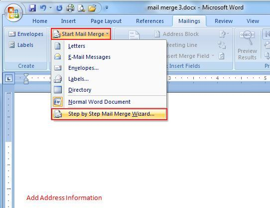 Microsoft Word Mailings Tab