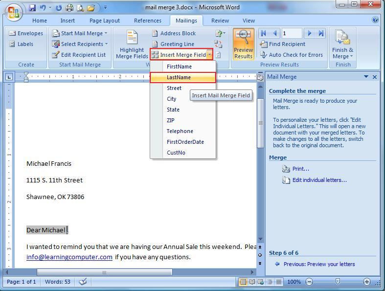 how to use mail merge in excel 2013