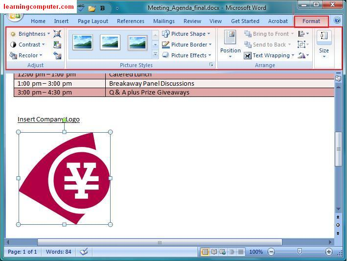 how to open the tab on microsoft word 2007