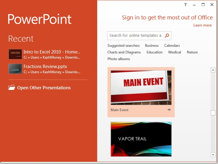Microsoft Powerpoint 2013 Opening Screen