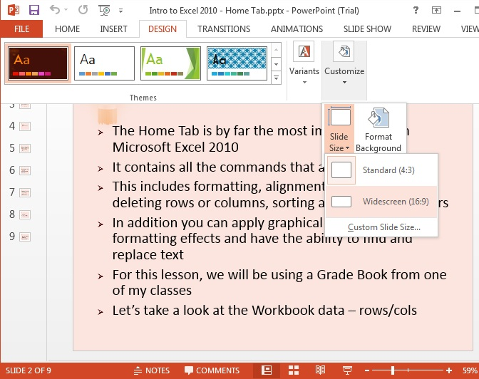 MS Powerpoint 2013 Widescreen