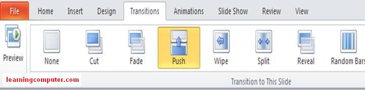 PowerPoint 2010 Transition tab groups8