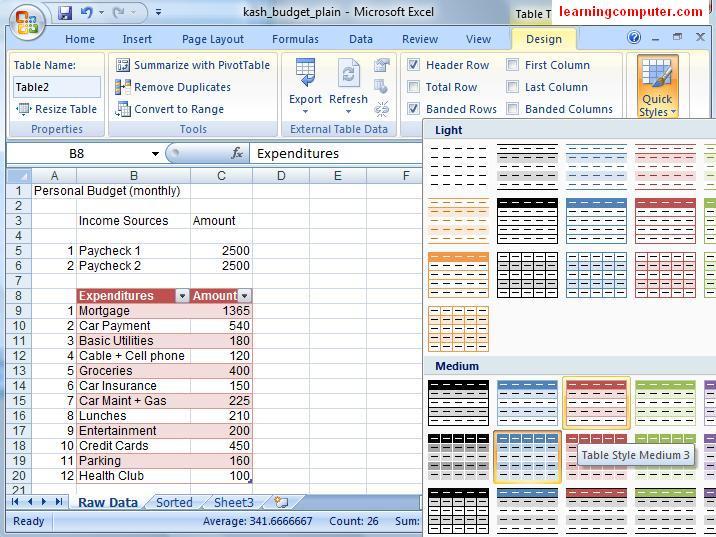 Design Tab in Excel