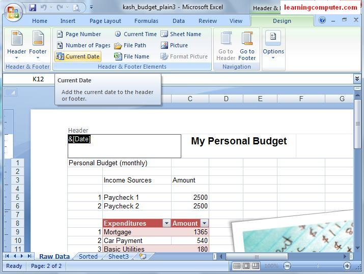 From normal to Page Layout in Excel