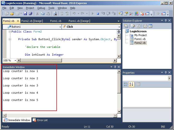 for next loop visual basic