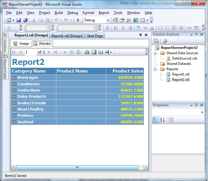 how to create sql server reporting service