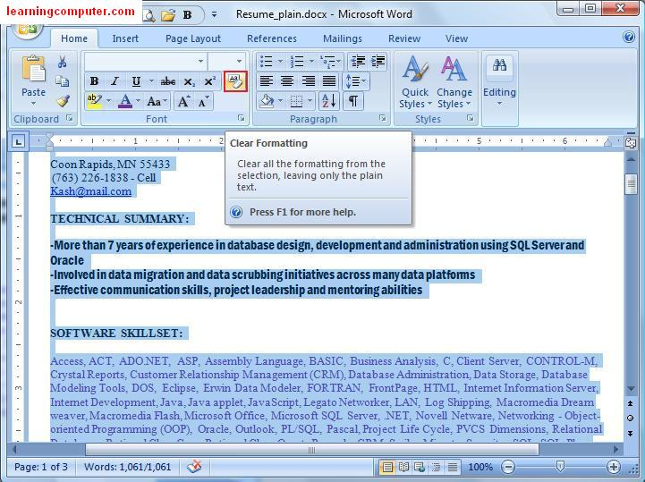 Clear formatting in a word document