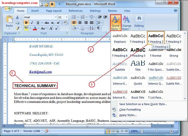 Microsoft Word – Home Tab – IT Computer training