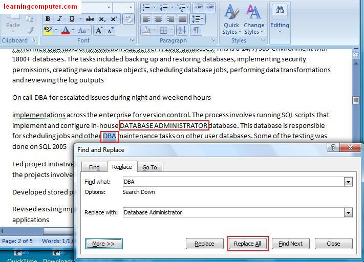 Find and Replace feature in word
