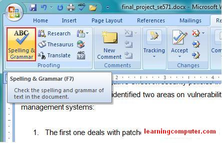 How the spelling and grammar feature looks in microsoft