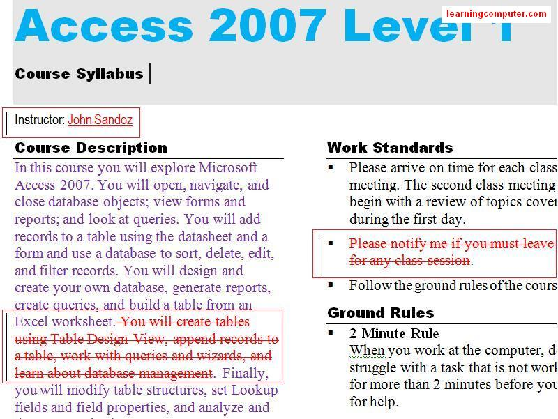 Highlighted changes example MS 2007