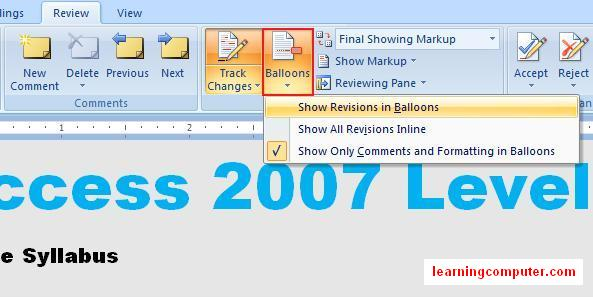 Ballons option in Word 2007