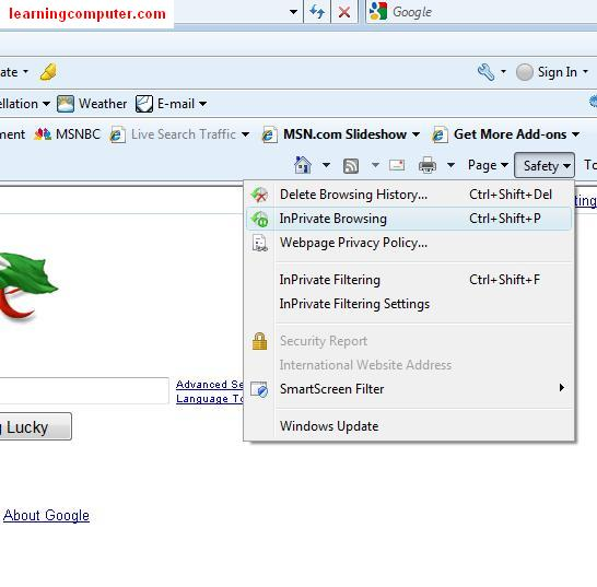 inprivate browsing internet ie9 windows